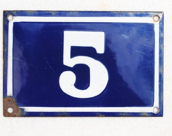 Vintage French enamel cobalt blue and white house number plaque - number 5