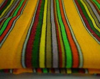 "Mexican Fabric bright Yellow striped 31"" width by one yard"