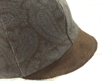 Upcycled Recycled Navy Paisley Denim Jean Newsboy Hat With Contrast Black Denim Brim
