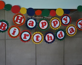 Personalized birthday banner, primary colors birthday banner, birthday bunting, birthday party decorations, Happy Birthday Banner