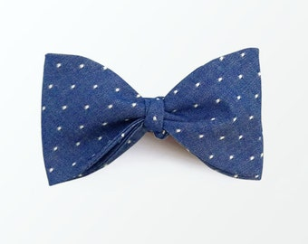 Men's Bow Tie, Royal Blue Bowtie, Chambray blue bowtie, Polka Dot Bowtie, Self Tie Bowtie for men / READY TO SHIP