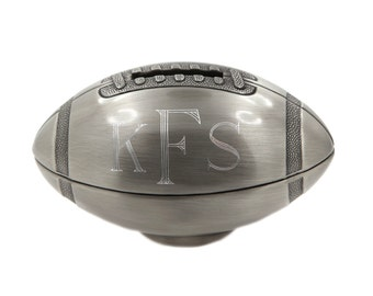 Non Tarnish Pewter Finish Monogrammed Personalize Keepsake Small Football Bank