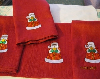 4 Red Santa Embroidery Napkins