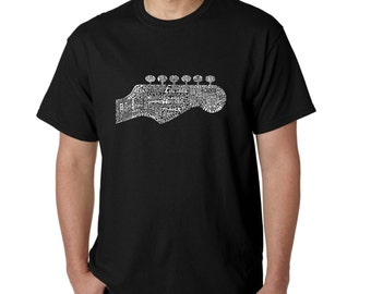 Men's T-shirt - Guitar Head Created out of 63 Genres of Music