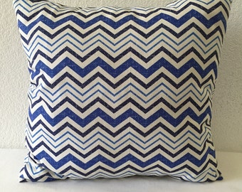 2 Pillow Covers 18x18inch-Free US Shipping - Waverly Inspirations Blue Zig Zag, Home Decor Fabric, Decorative Pillow
