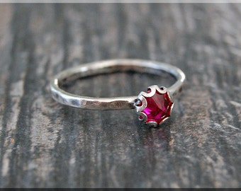 Ruby Ring, July Birthstone Ring, Mini Inverted Ruby Gemstone Ring, Sterling Silver Ring, Ruby Stacking Ring, Ruby July Birthstone Ring