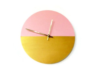 Wall Clock, Gold and Pink Clock, Gift For Her, Decor and Housewares, Home Decor, Home and Living