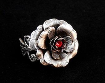 Silver Rose Ring Silver Flower Ring Statement Ring Victorian Gothic Ring Black Rose Ring Cocktail Ring Gothic jewelry Gift for Women