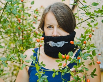 Lumbersexual Moustache cowl, black, crochet, knit, warm accessory for everyone, gift for teen, boy