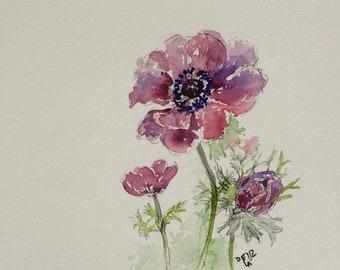 Windflower, original watercolor painting