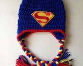 Infant superman hat with ear flaps great photo prop