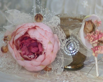 Corsage and or boutonniere Dried Larskspur Silk Pink Peony Ana