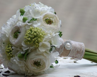 Bridal Bouquet Ivory Silk white Ranunculus and Green