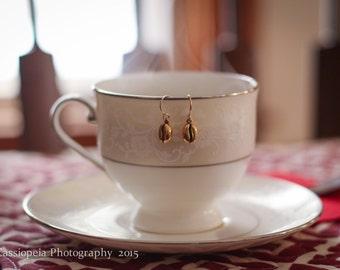 Gold Coffee Bean Earrings