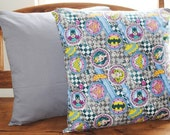 "wonder woman super girl bat girl comic print novelty cotton fabric 18"" pillow cover"