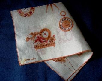 Jeanne Miller Handkerchief Vintage Linen Clocks Print in Browns Tans Orange Women's Hankie Purse Accessory Original Kimball's Label Unused
