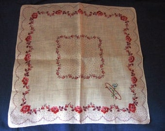 Handkerchief O Initial Monogram Vintage Hand Embroidered Red Thread with Roses and Polka Dots Border Print on White Linen for the Bride
