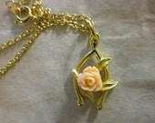 Wishbones and Roses Good Luck Necklace