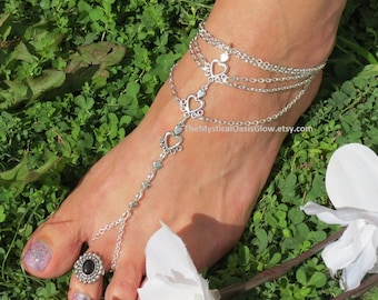 Womens SIZED Barefoot Sandals A PAIR Silver HEART Chain body jewelry for feet in the sand Barefeet Movement Wedding Jewellery