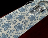 "Linen Table Runner, Sister Parish Blue Palmetto, 15"" x 60"" (38 x 152cm), Classic Dining Room Decor"