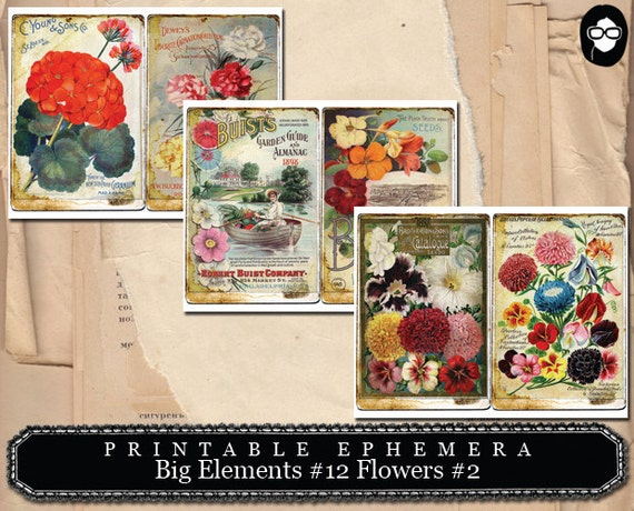 Big Elements #12 Flowers #2  (3) Page Instant Download