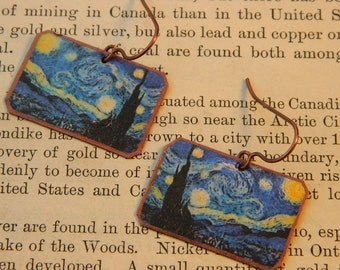 Van Gogh earrings Starry Night mixed media jewelry wearable art
