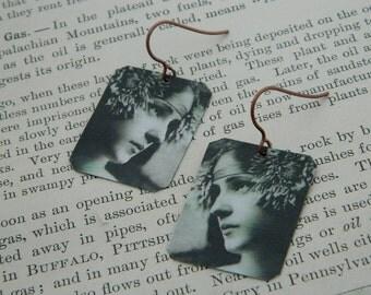 Art earrings Gertrude Käsebier Evelyn Nesbit mixed media jewelry wearable art