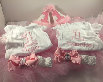 Twin Girls 1st Birthday Outfit, 1st Birthday Outfit, Girls 1st Birthday, Cake Smash Outfit, Twin Girls Birthday, Birthday Bodysuit