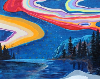 Surreal Landscape Painting, Mystical, Night Landscape, Lake Superior
