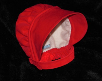 Red Corduroy Bonnet with neck strap