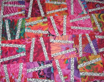 Quilted Table Topper, Contemporary Kaffe Fassett Brights with Black & White Slashed Block