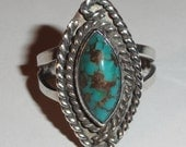 Vintage Southwest Native American Navajo Pawn Silver & Mottled Turquoise Rope Edge Ring Size 8