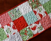 Aqua Red Christmas Quilted Table Runner, In From The Cold, Green White Periwinkle, Snowflake Table Runner, Small Table Runner, Christmas