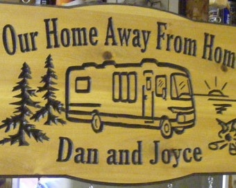 Camping Sign Custom Carved Camping RV-Sign -Cabin-Family Name- Location Sign -