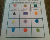Shapes / Shape Word VELCRO Activity Match for Preschool Learning, Kindergarten, Montessori, Autism & More! Kids Educational Toy, Homeschool