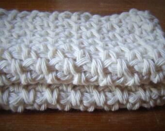 Set of 2 Cotton Crochet Wash Cloths Flannels - Choice of Colour