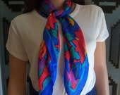 "Vintage Silk Scarf ""Morgan Taylor"", 1990 Ladies Fashion, Bright Multi Colored Scarf, Vintage Fashion Accessory, Gift Item"
