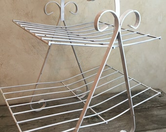 Metal Magazine rack Cottage style Shabby Chic Towel Holder Planter Scrolling Metal Rack Cottage Chic