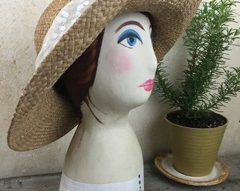 Vintage Hand Painted Mannequin Head Hat Meet Regina Numbered Hand Painted head Folk Art Cottage Chic Decor