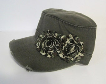 Olive Army Green Cadet Military Distressed Army Hat with Camouflage Chiffon Flowers Choose With or Without Accent
