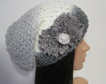 Grey Ombre Knit Slouch Beanie With Charcoal Grey Flowers and a Beautiful Rhinestone Accent Winter Hats Accessories