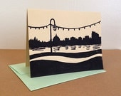 Single Oakland Lake Merritt Linocut Card in Black