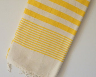 Beach Towel - Turkish Towel for beach and bath in Yellow color , ivory striped , cotton peshtemal towe
