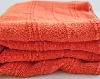 Turkish Towel Peshtemal towel Cotton Peshtemal Stone washed Towel in Coral color Buttery soft