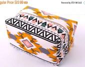 BACK 2 SCHOOL SALE Aztec Makeup Bag  - Arrow Cosmetic Pouch -  Lunch Bag - Wet Bag - Waterproof Bag