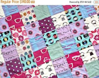 BACK 2 SCHOOL SALE Modern Baby Quilt - Gender Neutral Crib Quilt - Echino Fabrics