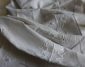 French 100% Pure Linen, Magnificent, Extensive  Fine Embroidery., Antique French Linen Marriage King Size Sheet,