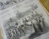 3 Antique Magazines, Journals, Newspapers,  L'Illustration, French, Dated 1856 Original.