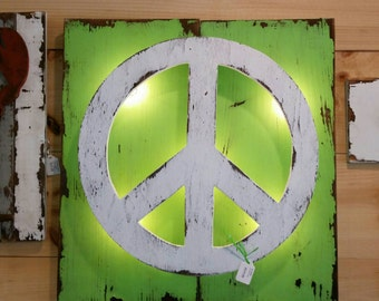 """Lighted """"Peace"""" Sign, """"peace symbol"""" lighted accent"""