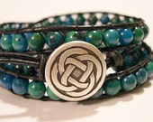 Triple wrap bracelet, Beaded wrap bracelet,  Boho bracelet, Leather wrap, Bohemian bracelet, Gypsy wrap bracelet, Beaded bracelet - 825